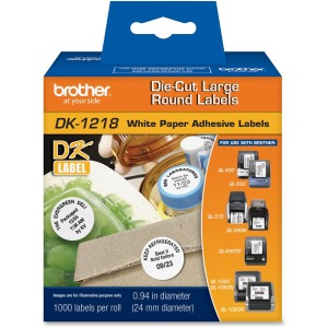 Brother DK1218 - White Round Paper Adhesive Labels
