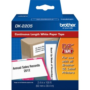 Brother DK2205 - Continuous Length White Film Paper Tape