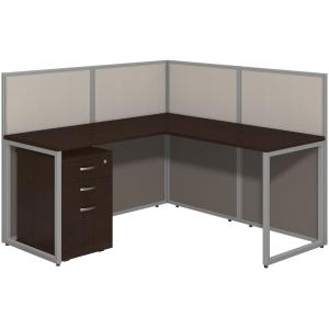 Bush Business Furniture Easy Office 60W L Desk Open Office with 3 Drawer Mobile Pedestal