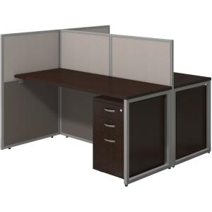 Bush Business Furniture 60W 2 Person Straight Desk Open Office with 3 Drawer Mobile Pedestals