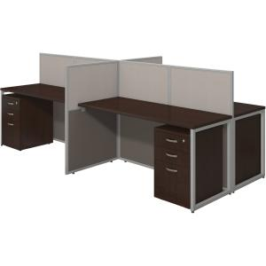 Bush Business Furniture 60W 4 Person Straight Desk Open Office with 3 Drawer Mobile Pedestals