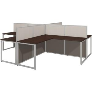 Bush Business Furniture Easy Office 60W 4 Person L Desk Open Office