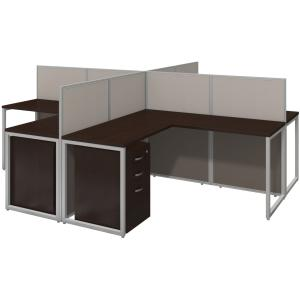 bbf 60W 4 Person L Desk Open Office with 3 Drawer Mobile Pedestals