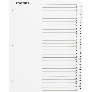 Business Source Table of Content Quick Index Dividers