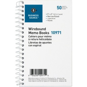 Business Source Side Wirebound Ruled Memo Book