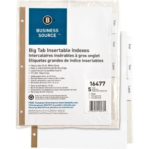 Business Source Tear-resistant Clear Tab Index Dividers
