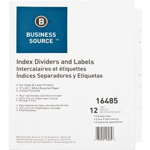 Business Source Customize 12-Tab Index Dividers