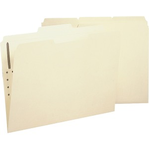 Business Source 2-Ply Tab Manila Letter Fastener Folder