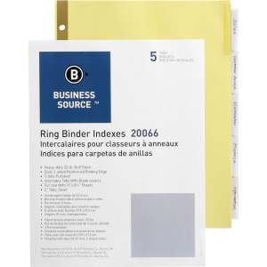 Business Source Insertable 5-Tab Ring Binder Indexes