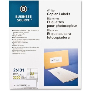 Business Source Bright White Copier Labels