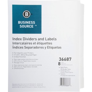 Business Source Punched Laser Index Dividers