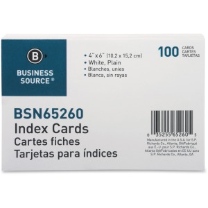 Business Source Plain Index Cards