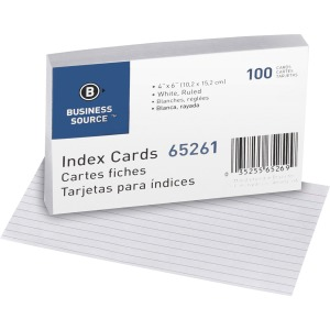 Business Source Ruled White Index Cards
