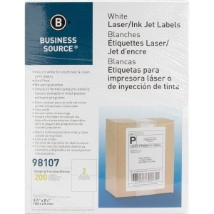 Business Source Bright White Premium-quality Internet Shipping Labels