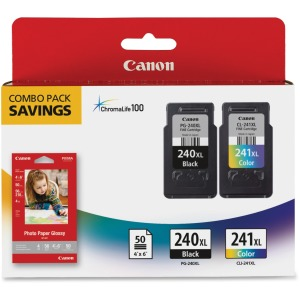 Canon PG-240XL/CL-241XL/GP-502 Ink Cartridge/Paper Kit - Black, Tri-color