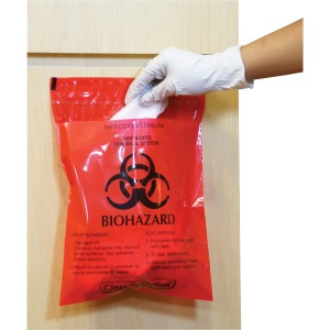 CareTek Stick-On Biohazard Infectious Red Waste Bags