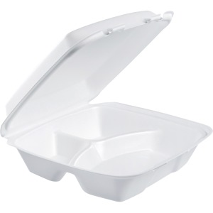 Dart Large 3-compartment Foam Carryout Trays