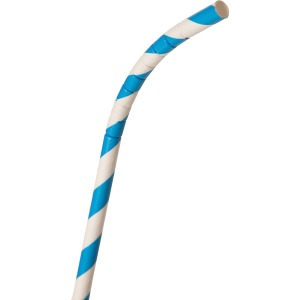 "Eco-Products 7.75"" Striped Paper FLEX Straw, Blue"
