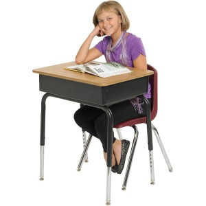 Early Childhood Resources Open Front Desk with Metal Book Basket