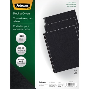 Fellowes Expressions™ Linen Presentation Covers - Letter, Black, 200 pack