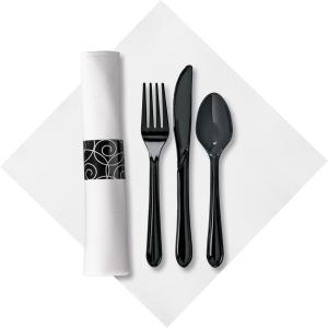 Linen-Like Pre-wrapped Cutlery Kit