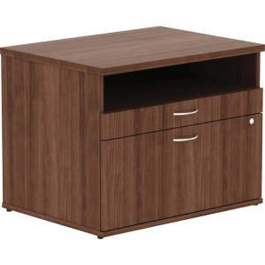 Lorell Walnut Open Shelf File Cabinet Credenza - 2-Drawer