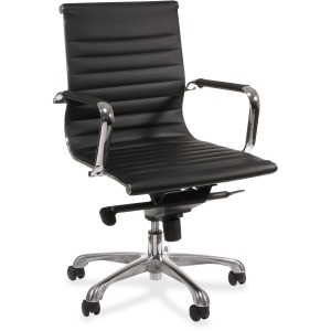 Lorell Modern Chair Series Mid-back Leather Chair