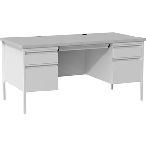Lorell Grey Double Pedestal Steel/Laminate Desk
