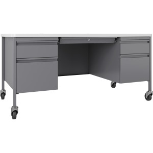 Lorell Fortress White/Platinum Steel Teachers Desk