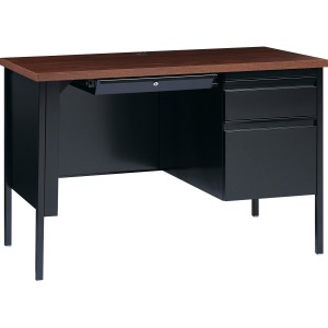 Lorell Fortress Series Walnut Laminate Top Desk
