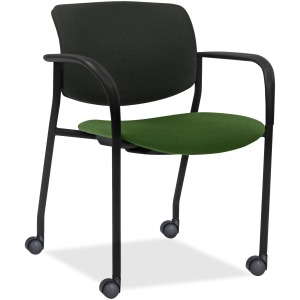 Lorell Stack Chairs with Plastic Back & Fabric Seat