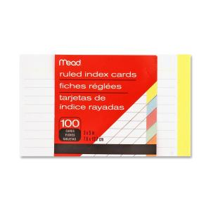 Mead Ruled Assorted Color Index Cards