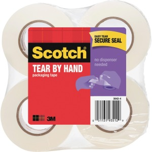 "Scotch® Tear-By-Hand Mailing Packaging Tape 2"" x 50 Yds"