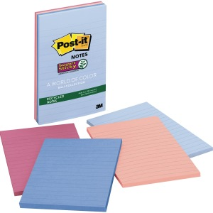 Post-it Super Sticky Recycled Notes, 4 in x 6 in, Bali Color Collection, Lined