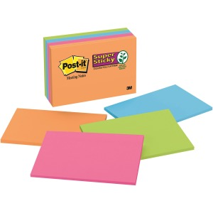 "Post-it® Super Sticky Notes, 6"" x 4"" Rio de Janeiro Collection"