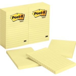 Post-it Notes, 4 in x 6 in, Canary Yellow, Lined