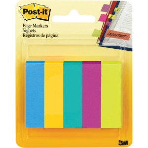 Post-it Page Markers, Assorted Colors , 1/2 in x 2 in