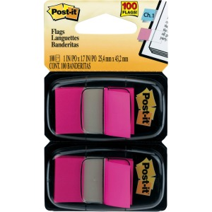 "Post-it® Flags, 1"" Wide, Bright Pink 2-pack"