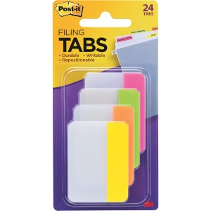 "Post-it® Dividing Tabs, 2"" x 1.5"", Assorted Bright Colors"