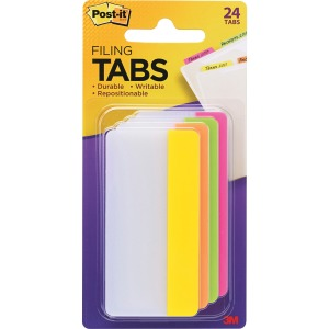 "Post-it® Filing Tabs, 3"" x 1.5"", Assorted Bright Colors"