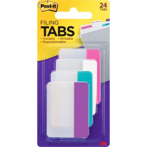 "Post-it® Filing Tabs, 2"" x 1.5"", Solid Assorted Colors"