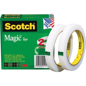 "Scotch® Magic™ Tape, 1/2"" x 2,592"", 2 Boxes/Pack, 3"" Core"