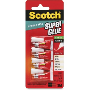 Scotch® Super Glue Gel, 4-Pack of single-use tubes, .017 oz each