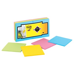 "Post-it® Super Sticky Full Adhesive Notes, 3"" x 3"", Electric Yellow"