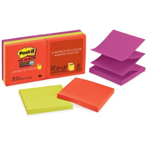 "Post-it® Super Sticky Pop-up Notes, 3"" x 3"", Marrakesh Collection"