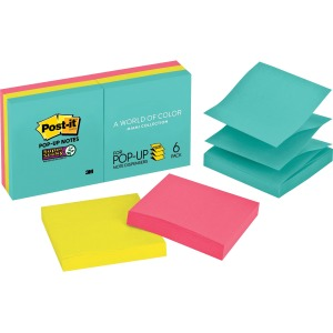 "Post-it® Super Sticky Pop-up Notes, 3"" x 3"", Miami Collection"