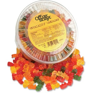 Office Snax Tub of Gummy Bears Candy