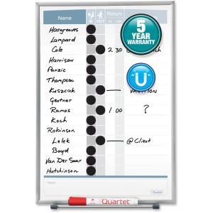 "Quartet Matrix® In/Out Board, 11"" x 16"", Magnetic, Track Up To 15 Employees"