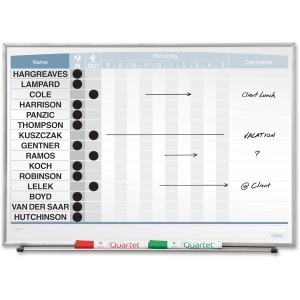 "Quartet Matrix® In/Out Board, 23"" x 16"", Magnetic, Track Up To 15 Employees"