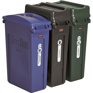 Rubbermaid Commercial Slim Jim 3-container Recycling Set
